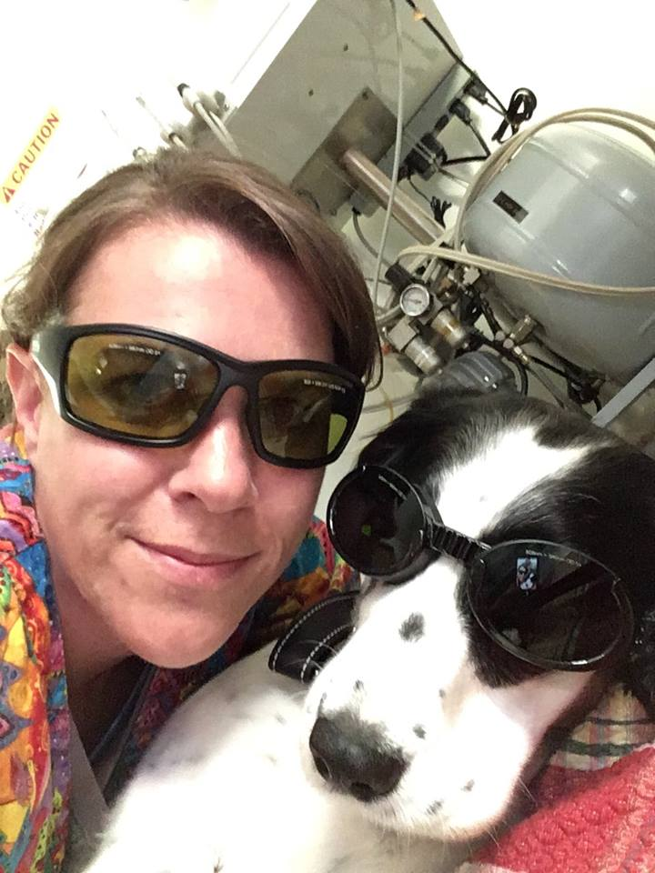 Veterinary technician, Cindy, with Isabella, a happy laser surgery patient | AtlanticVetSeattle.com