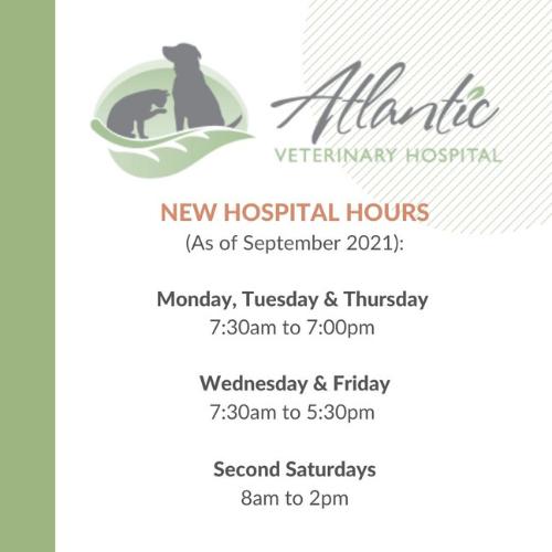 Atlantic Veterinary Hospital Hours as of September 2021